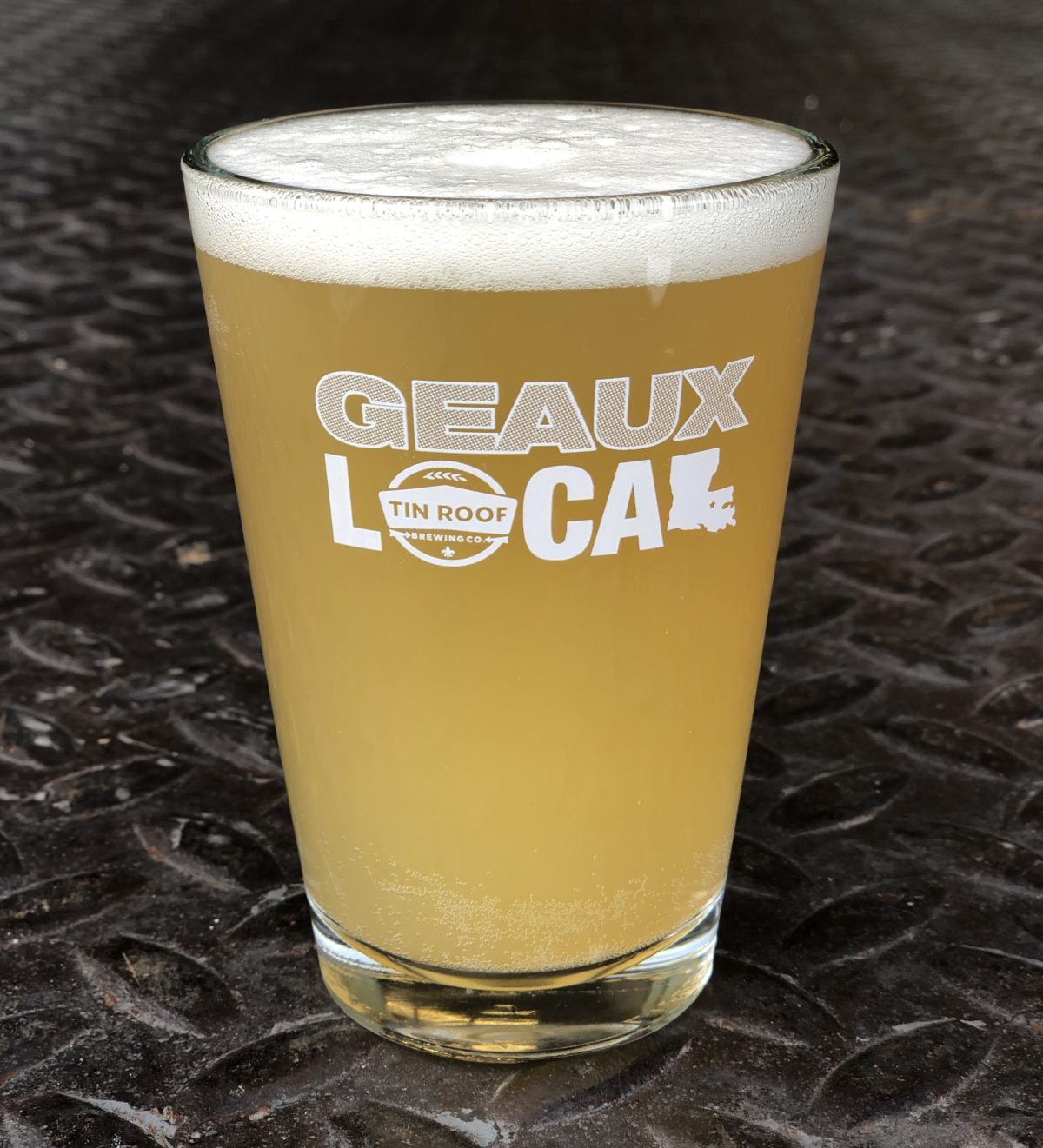 White Geaux Local Logo Half Pint Glass Tin Roof